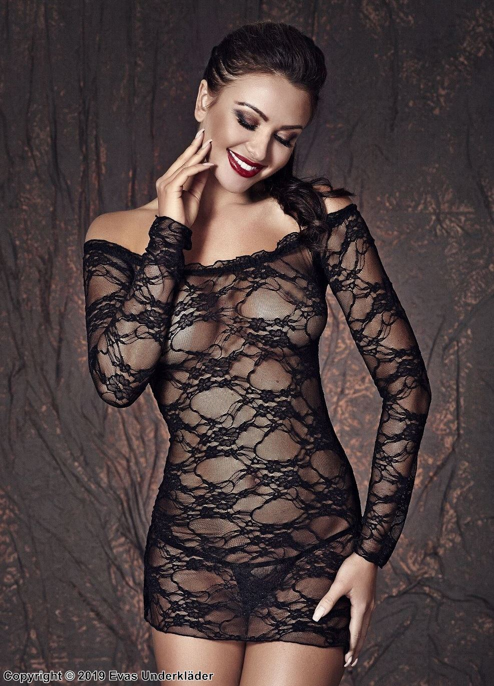 Night mini dress, transparent lace, long sleeves, off shoulder, XS to 3XL
